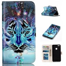 Huawei P10 Lite sininen tiikeri puhelinlompakko