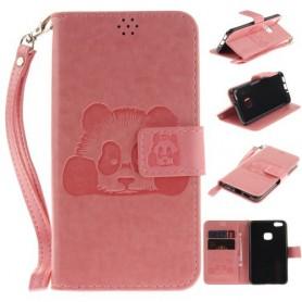 Huawei P10 Lite vaaleanpunainen panda puhelinlompakko