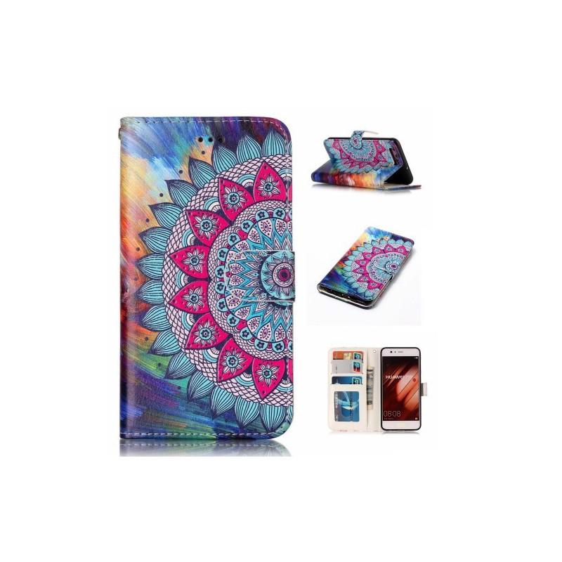 Huawei P10 värikäs kukka puhelinlompakko