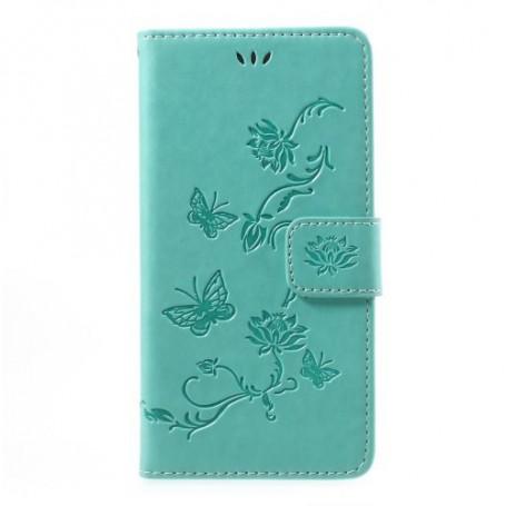 Huawei P10 vihreä kukkia ja perhosia puhelinlompakko