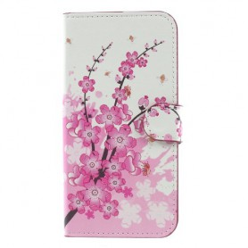 Samsung Galaxy J7 2017 vaaleanpunaiset kukat puhelinlompakko