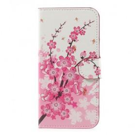 Samsung Galaxy J5 2017 vaaleanpunaiset kukat puhelinlompakko