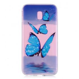 Samsung Galaxy J5 2017 siniset perhoset suojakuori.