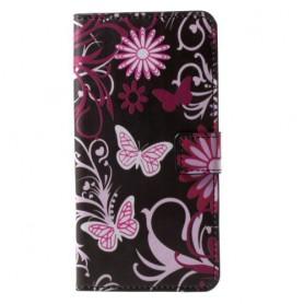 Nokia 6 kukkia ja perhosia puhelinlompakko