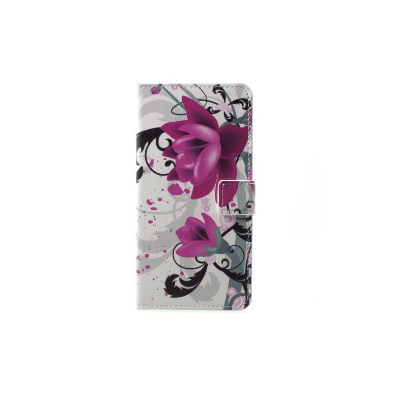 Nokia 6 violetit kukat puhelinlompakko