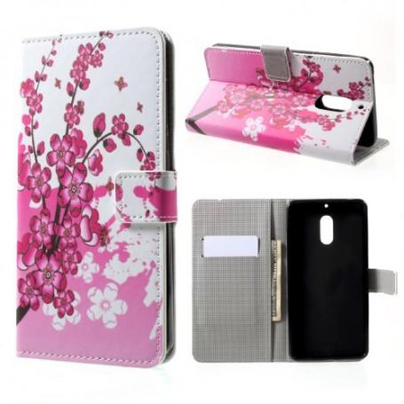 Nokia 6 vaaleanpunaiset kukat puhelinlompakko