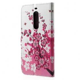 Nokia 5 vaaleanpunaiset kukat puhelinlompakko