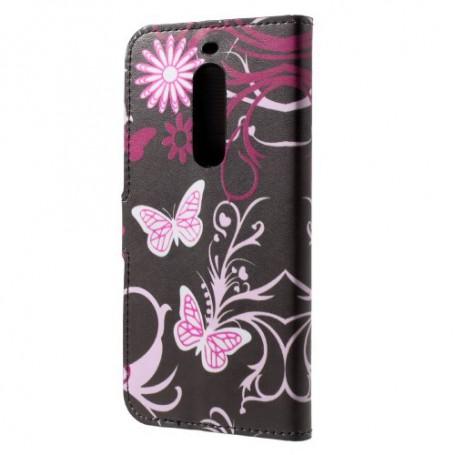 Nokia 5 kukkia ja perhosia puhelinlompakko