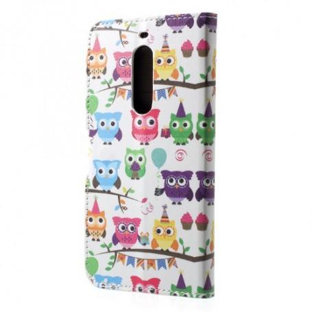 Nokia 5 värikkäät pöllöt puhelinlompakko