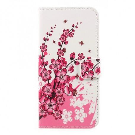 Nokia 3 vaaleanpunaiset kukat puhelinlompakko