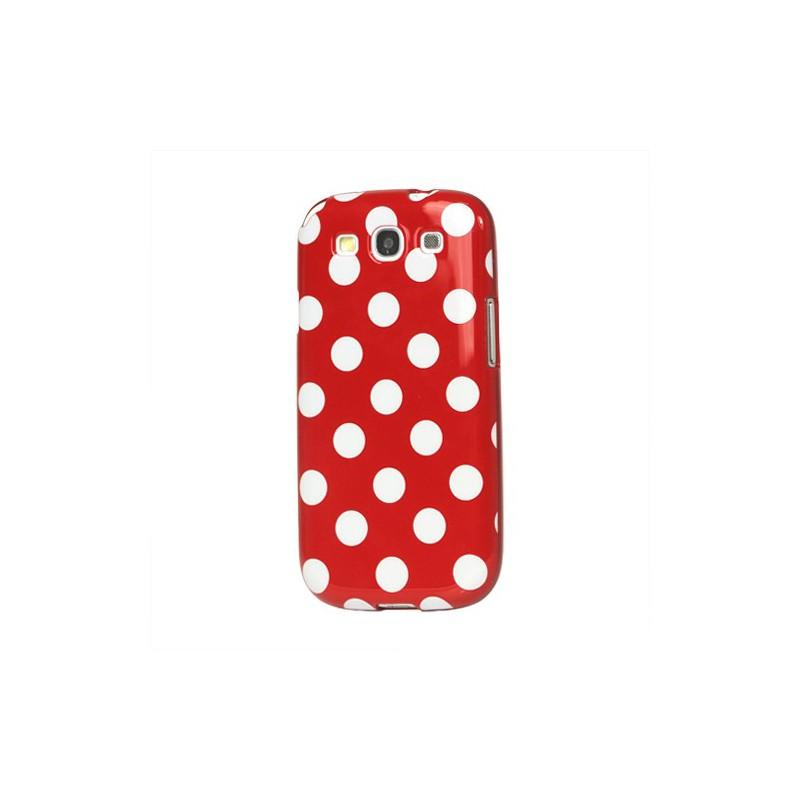 Galaxy S3 punainen polka dot suojakuori.