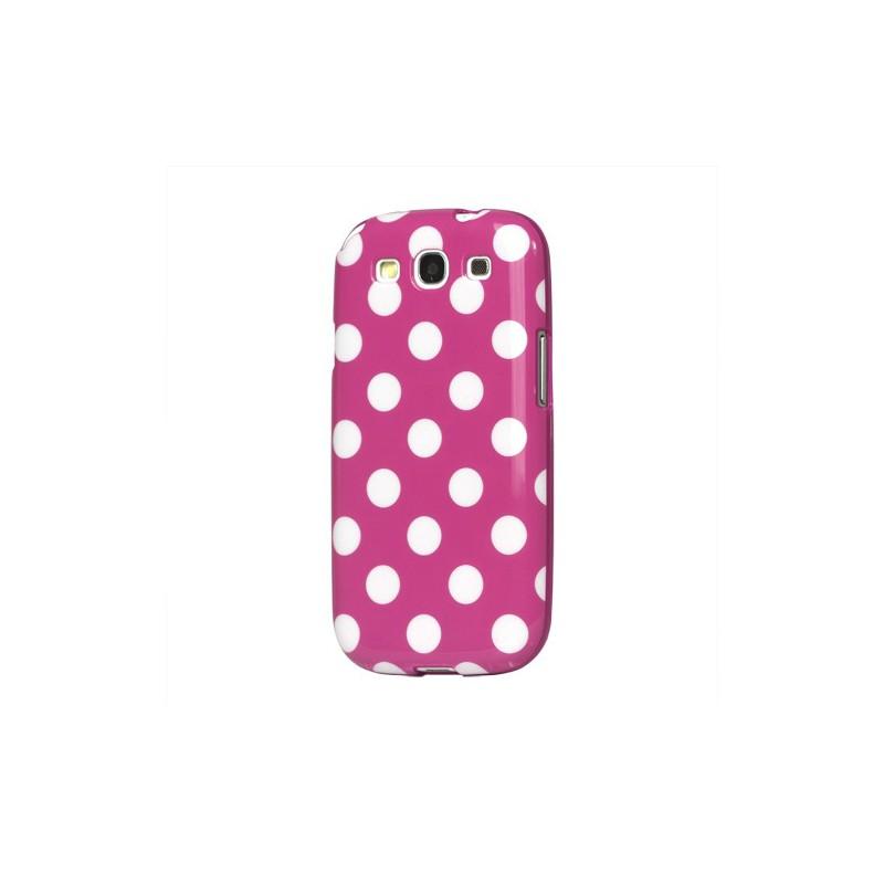 Galaxy S3 pinkki polka dot suojakuori.