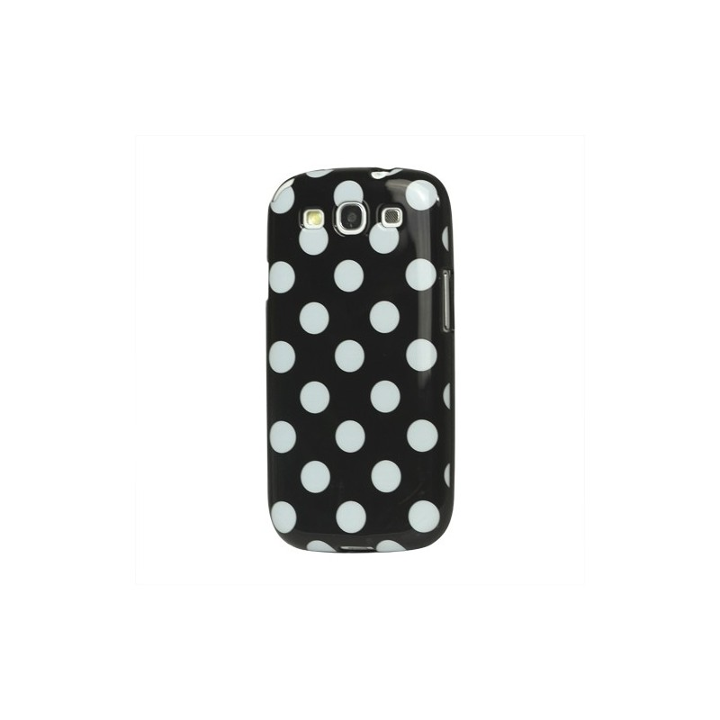 Galaxy S3 musta polka dot suojakuori.