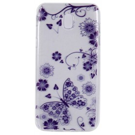 Samsung Galaxy J5 2017 violetti kukkia ja perhosia suojakuori.