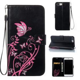 Apple iPhone 6S musta kukkia ja perhosia puhelinlompakko