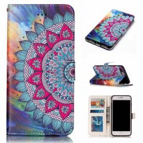 Apple iPhone 7/8/SE 2020 värikäs kukka puhelinlompakko