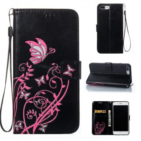 Apple iPhone 7 / 8 musta kukkia ja perhosia puhelinlompakko