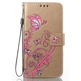 Apple iPhone 8 kullanvärinen kukkia ja perhosia puhelinlompakko