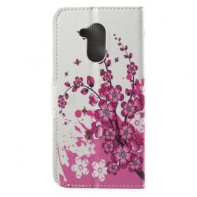 Huawei Honor 6A vaaleanpunaiset kukat suojakotelo