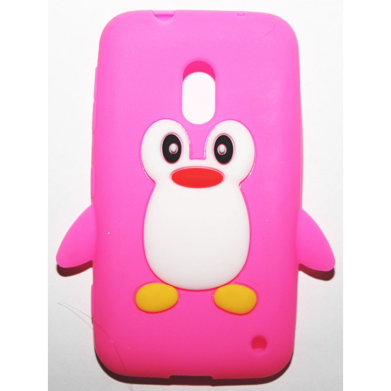 Lumia 620 hot pink pingviini silikonisuojus.