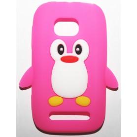 Lumia 710 hot pink pingviini silikonisuojus.