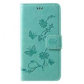 iPhone X / Xs vihreä kukkia ja perhosia suojakotelo