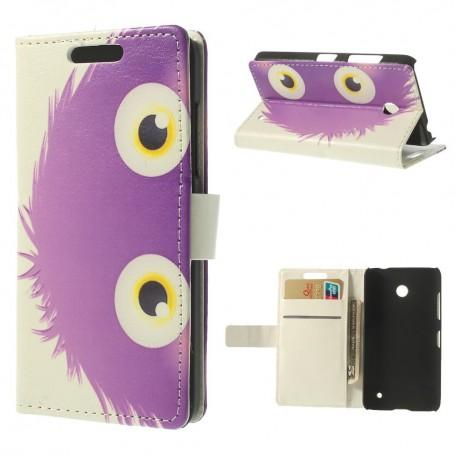 Lumia 630 violetti pörröpeikko puhelinlompakko