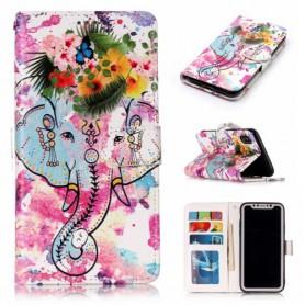 iPhone X / Xs värikäs norsu suojakotelo