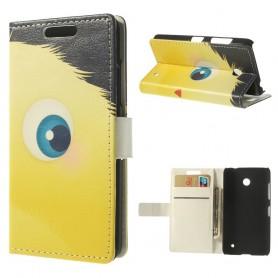 Lumia 630 keltainen pörröpeikko puhelinlompakko