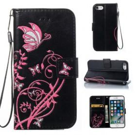 iPhone 8 plus musta kukkia ja perhosia suojakotelo