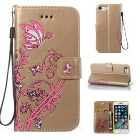 iPhone 8 plus kullanvärinen kukkia ja perhosia suojakotelo