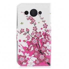 Huawei Y3 2017 vaaleanpunaiset kukat suojakotelo
