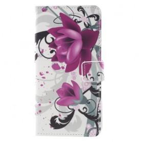 Nokia 8 violetit kukat suojakotelo