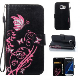 Samsung Galaxy S7 musta kukkia ja perhosia suojakotelo
