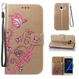 Samsung Galaxy S7 kullanvärinen kukkia ja perhosia suojakotelo