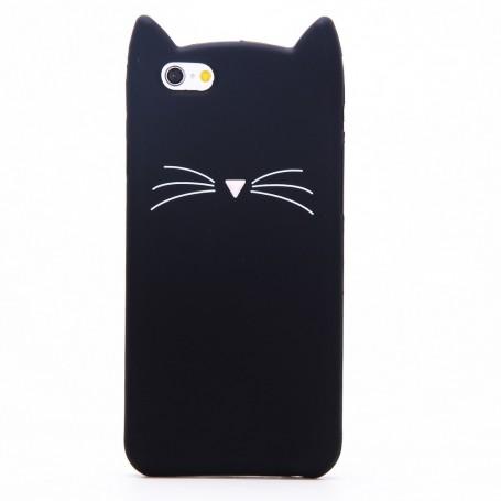 Apple iPhone 6 / 6s musta kissa silikonikuori.