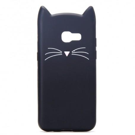 Samsung Galaxy A3 2017 musta kissa silikonikuori.