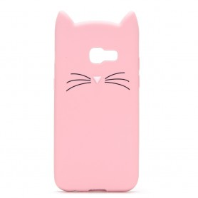Samsung Galaxy A3 2017 vaaleanpunainen kissa silikonikuori.