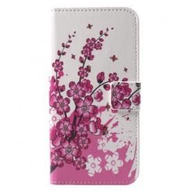 Huawei P9 Lite Mini vaaleanpunaiset kukat suojakotelo