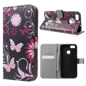 Huawei P9 Lite Mini kukkia ja perhosia suojakotelo