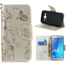Samsung Galaxy J5 kullanvärinen kukkia ja perhosia suojakotelo