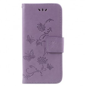 Huawei P9 Lite Mini violetti kukkia ja perhosia suojakotelo