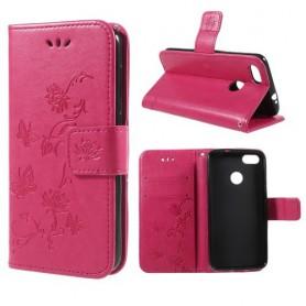 Huawei P9 Lite Mini hot pink kukkia ja perhosia suojakotelo