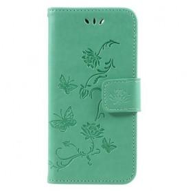 Huawei P9 Lite Mini vihreä kukkia ja perhosia suojakotelo