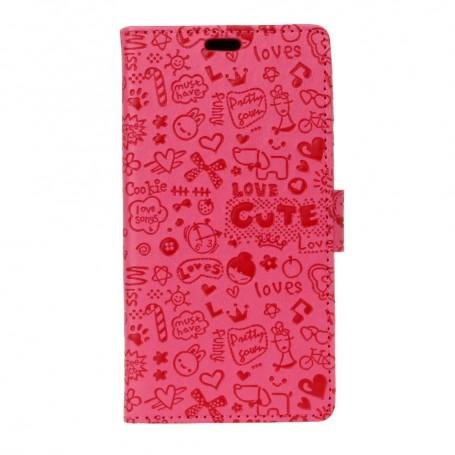 Huawei Honor 6A hot pink kuvioitu suojakotelo