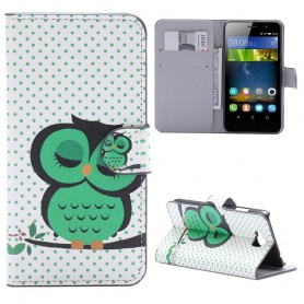 Huawei Y6 Pro vihreä pöllö puhelinlompakko