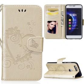 Huawei Honor 8 kullanvärinen sydän puhelinlompakko