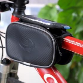 Musta pyörälaukku puhelimelle kiinnitys runkoon