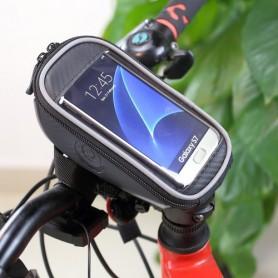 Musta pyörälaukku puhelimelle kiinnitys ohjaustankoon