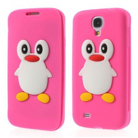 Galaxy S4 hot pink kannellinen pingviini silikonisuojus.